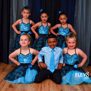 Adorable dancers in blue costumes